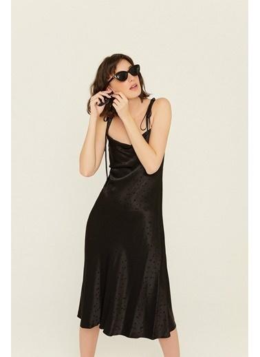 Rue Degaje Yaka Puantiyeli Elbise Siyah